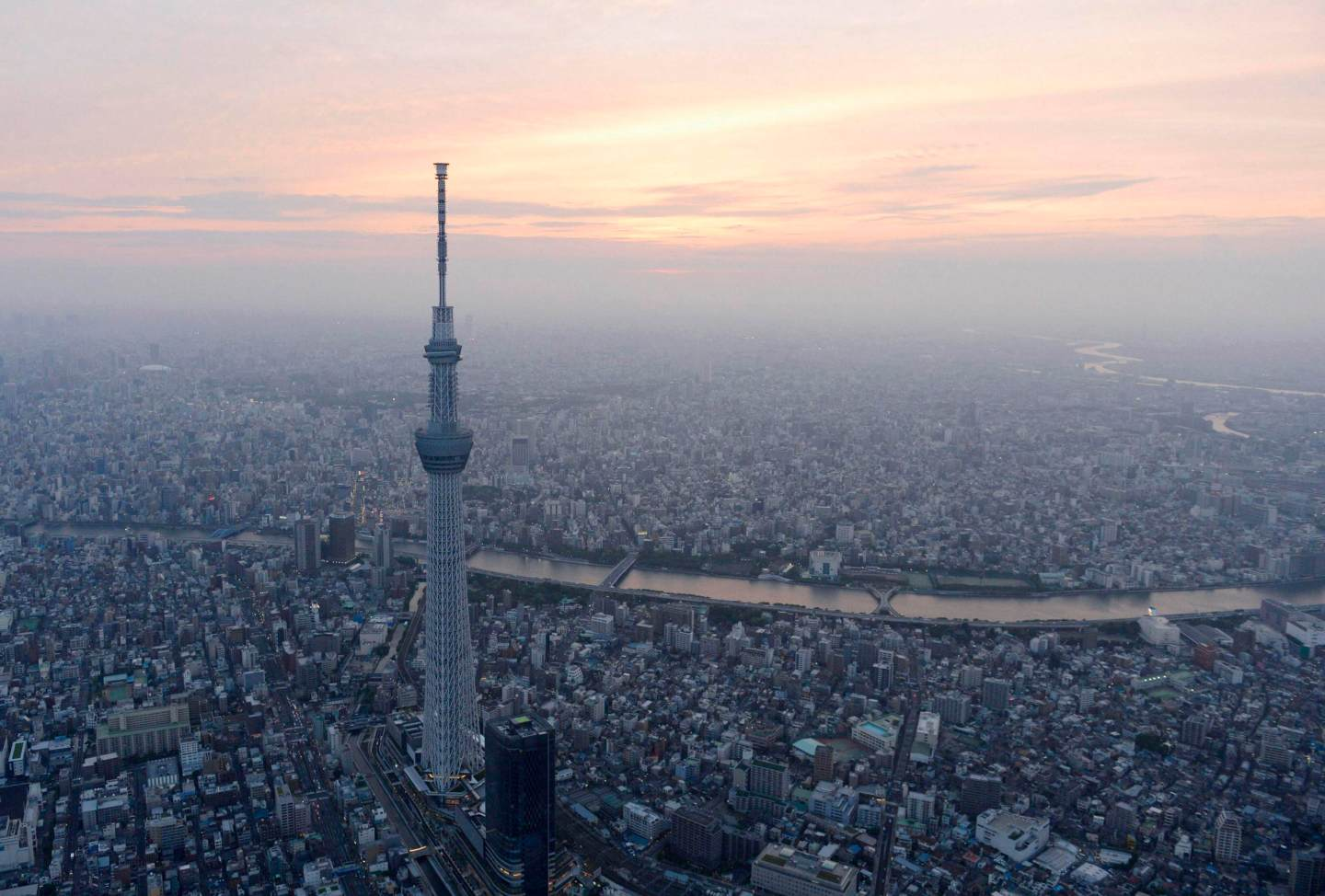 A view of Tokyo Skytree, the world's tallest broadcasting tower at 634 metres (2080 feet), in Tokyo