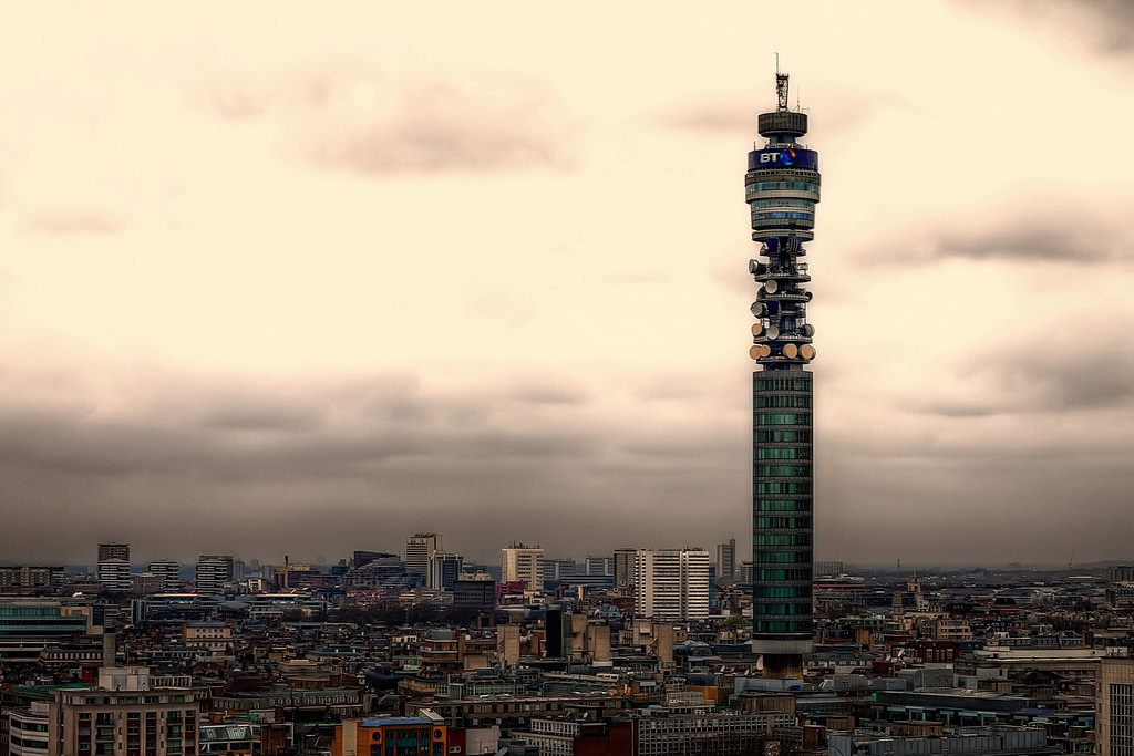 Bt Tele  Tower London on telephone radio waves