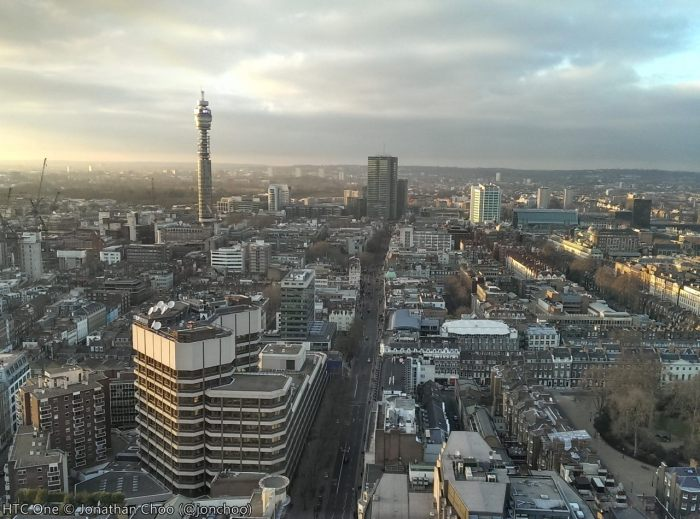 HTC One camera sample North London, BT Tower from Paramount Centre Point HDR